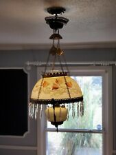 1800s Victorian Atq Chandelier Hanging Prism Electrified Oil Lamp/ Lighting.