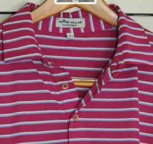 """PETER MILLAR Summer Comfort Hot Pink Striped S/S polo sz L (48"""" chest)"""