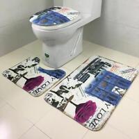 3Pcs Bathroom Ocean Style Pedestal Rug + Bath Mat +  Lid Toilet Cover