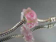 SINGLE SILVER CORE PINK MURANO GLASS BEADS EURO STYLE CHARM BRACELETS (MB 158)