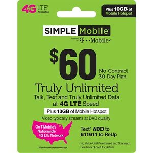 SIMPLE MOBILE  Prepaid $60 Refill Top-Up Prepaid Card ,PIN / RECHARGE