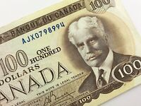 1975 Canada 100 Dollar Circulated AJX Replacement Banknote Crow Bouey R193