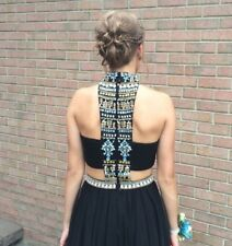 Gorgeous Long Black Beaded Cut Out Sherri Hill Size 2 Prom Pageant Dress $650