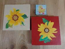 """OIL PAINTINGS Set of 2 SUNFLOWERS Red Yellow Green Beige 8x8"""" Wagner"""