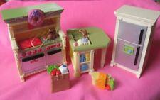 Loving Family Dollhouse Kitchen Furniture Stove w/sound Fridge Sink Island Food