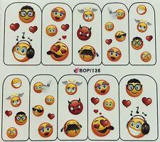 Nail Art Water Decals Cute Funny Smiley Face Hearts Rocker Girl Boy Angel BOP136