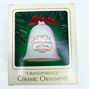 "VINTAGE 1983 Hallmark Ceramic Bell Christmas Ornament ""Grandparents"" Love NEW"