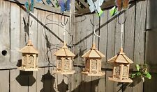 Bird feeder Four Pack Hanging Wooden Gazebos Garden Yard Patio Decor Feeder