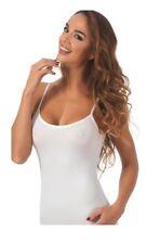 Top donna spalla stretta cotone bielastico Marlene colori Bianco, Nero