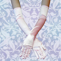 PINK! Women Evening Party Wedding Opera Arm Finger Elbow Long Satin Gloves HOT!