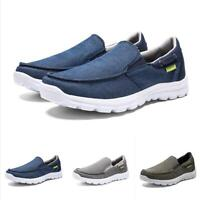 Mens Lightweight Canvas Flats Shoes Slip On Breathable Casual Boat Shoes Loafers