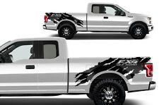 Vinyl Decal Graphics Wrap Kit for Ford F-150 15-17 FX4 OFFROAD TORN Matte Black