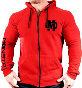 Monsta Clothing Zipper Hoodie MC Crest Bodybuilding / Lifting - Red / Black