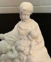 Antique Vintage German Bisque Parian Madonna & Child Angel Holy Water Font 1890s