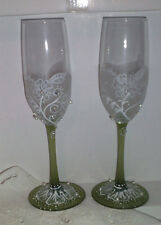 Set Of 2 Handpainted WEDDING/ANNIVERSARY Champagne Toasting FluteS FROSTED GREEN