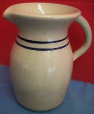 """Vintage Antique Glazed Pottery Pitcher Clay Blue Rings Lines Heavy Thick 9 1/2""""T"""