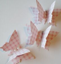 Paper Butterflies 12 BABY SHOWER CHRISTENING 3D table decorations  - PINK CHECK