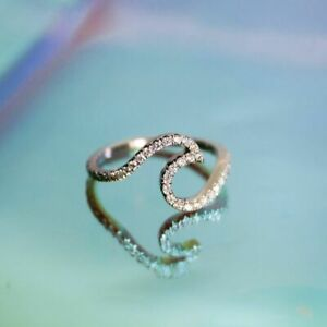 Round Cut Moissanite Ocean Wave Ring in 925 Sterling Silver, Dainty Wave Ring