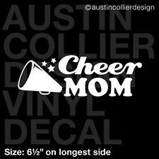 "6.5"" CHEER MOM vinyl decal car window laptop sticker - cheerleader squad gift"