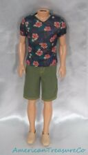 Barbie Fashionistas Ken Fitted Aloha Shirt Green Shorts & Tan Deck Shoes Outfit