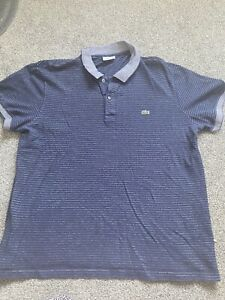 mens lacoste polo shirt large Navy Striped
