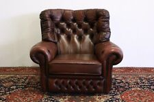 Poltrona chesterfield chester bergere alta inglese pelle marrone brown original