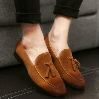 Men Tassel Suede Leather Slip On Loafers Moccasin Flats Formal Dress Shoes