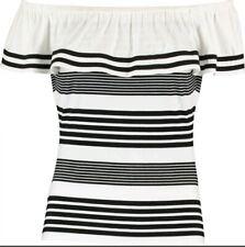 BNWT - KAREN MILLENBlack Stripe Monochrome Bardot Top - Size UK 16 - RRP £55