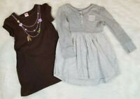 Gymboree & Old Navy (Lot of 2) Dresses Girls Size 5T 100% Cotton Gray / Brown