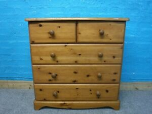 =USED SOLID WOOD 5 CHEST OF DRAWERS H84 W83 D40cm- VISIT OUR WAREHOUSE