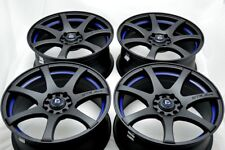 "4 New DDR ZK15 15x6.5 5x100/114.3 35mm Matt Black/Blue Undercut 15"" Wheels Rims"