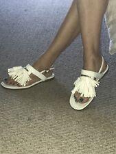 A/X Armani exchange White Tassel Flat Sandals EUC 7.5 or 8