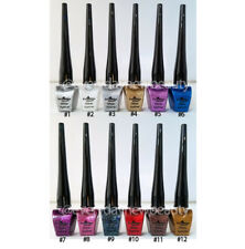 12 Colors Full Set Italia Deluxe Glitter Liquid Eyeliner US SELLER