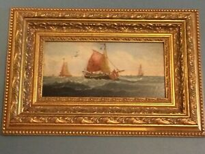 Seascape with sailboats. Ancient painting. Holland.