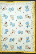 Vintage Cat Dog Baby Blanket Quilt Kitten Blue Plaid Puppy Yellow Trim Flaw Back