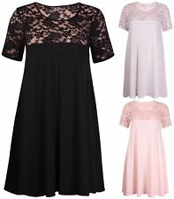 Lace Plus Size Floral Scoop Neck Dresses for Women