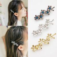 Fashion Women's Rhinestone Crystal Flower Metal Hair Pin Barrette Hairpin Clip