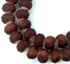 8x6mm Matte Frosted Neon Glass Faceted rondelle Beads - Coffee Brown 16""