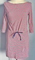 H&M Women's Top Tunic Dress Red Blue Size S UK 8 10 12 100% Cotton Striped VGC