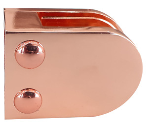 Rose Gold Glass Balustrade / Stair Clamp - Flat Back for 10mm Glass