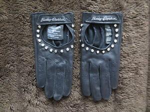 "RARE Harley Davidson Womens Gloves Black Leather Sz M Rhinestones ""Bling"" NICE!"