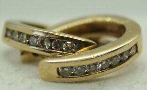 100% Genuine 9k Solid Yellow Gold 0.21ct Natural Diamond Huggies Hoop Earrings