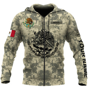 Personalized Mexican Army Zipper Hoodie 3D All Over Printed Unisex Size S-5XL