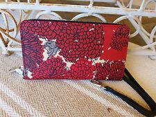 Brighton NWT Vera Mums Tech Wallet Wristlet Red Floral Saffiano T22087