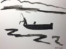 Matt Scalf Abstract Fishing Boat Outdoors Lake Watercolor 9x12 ORIGINAL PAINTING