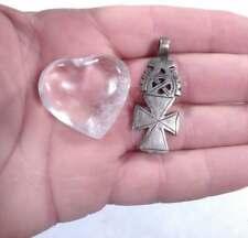 Quartz Crystal Heart - *B Small Ethiopian Coptic Cross +