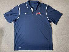 Nike Dri Fit Shirt Mens Adult XLarge Size Blue LMU Short Sleeve Collared XL