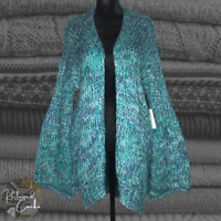 Free People Blue Knit Flared Long Sleeve 1 Button Front Cardigan Sweater Size XS