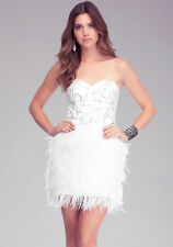 BEBE White Isis Sequin Ostrich Feather Strapless Bustier Bride Cocktail Dress M