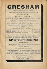 Stampa antica pubblicità ASSICURAZIONI GRESHAM 1895 Old antique print